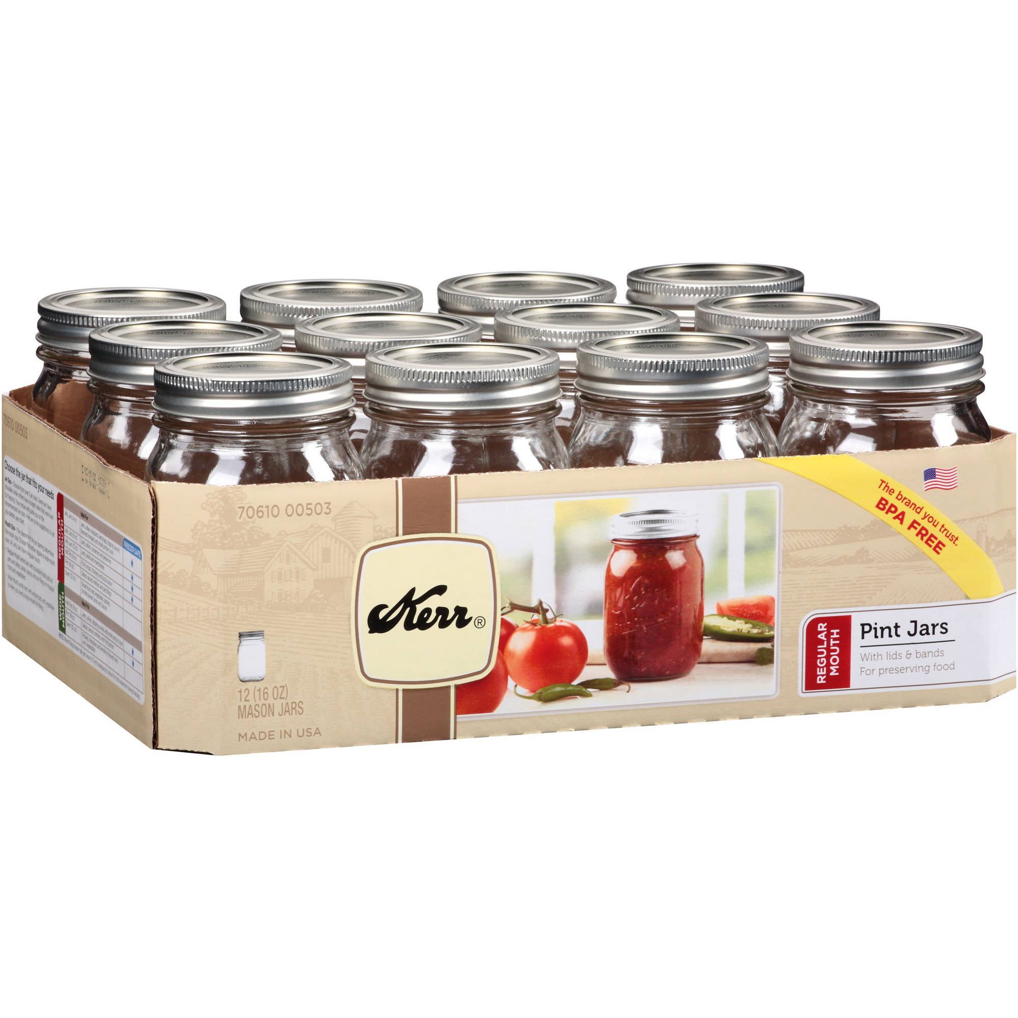 Kerr Regular Mouth Pint Jars, 12 count