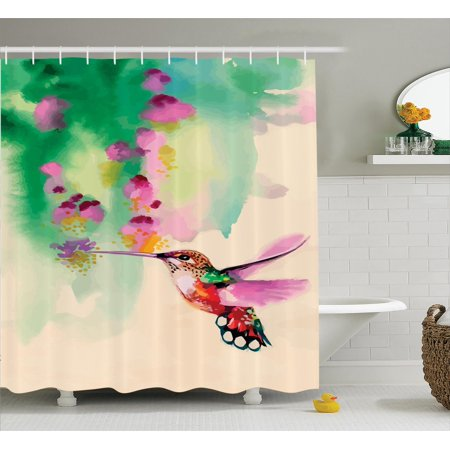Hummingbirds decorations shower curtain set art with for Bird themed bathroom accessories