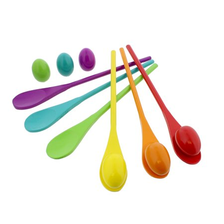Wooden Egg and Spoon Race Game Set of 6 Egg Race Spoons and Eggs