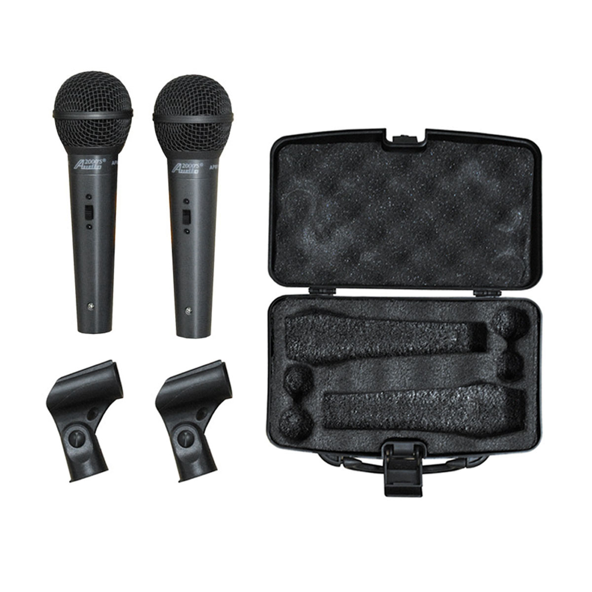 Audio2000 APM1067B Dynamic Microphone with Clip (2 Pack) by
