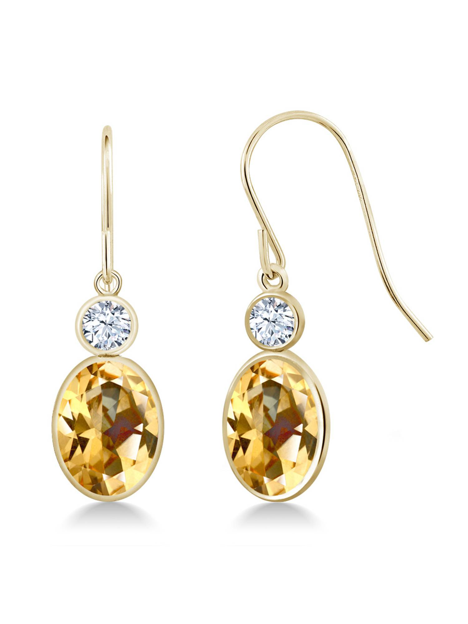 14K Yellow Gold Earrings Set with Oval Honey Topaz from Swarovski by