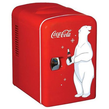 Coca-Cola compact 6-can portable fridge/mini electric cooler, 110 or 12 volt use