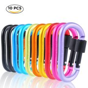 3 10 Pcs Aluminum Carabiner D Shape Buckle Pack, Keychain Clip, Spring Snap Key Chain Clip Hook Screw Gate Buckle -Pack of Assorted Color Carabiners