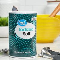 Great Value Iodized Salt, 26 oz, 2 Pack