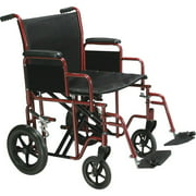 "Drive Medical Bariatric Heavy Duty Transport Wheelchair with Swing Away Footrest, 20"" Seat, Red"