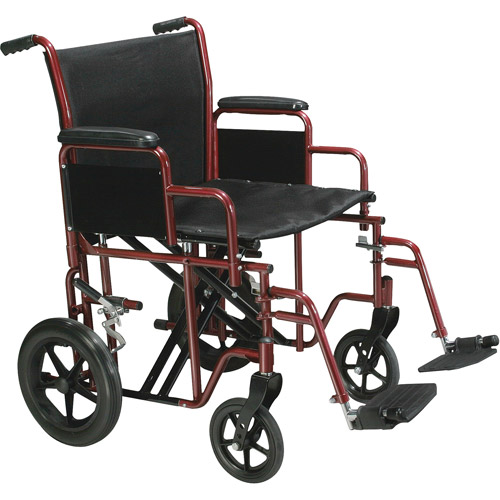 """Drive Medical Bariatric Heavy Duty Transport Wheelchair with Swing Away Footrest, 20"""" Seat, Red"""
