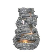 MULTI LEVEL ROCK FOUNTAIN WITH WARM WHITE LEDS