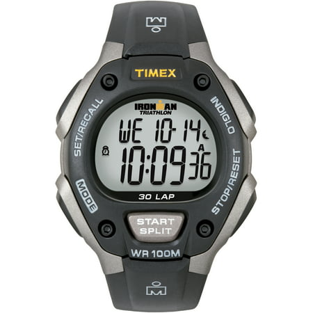 Timex Men's Ironman Classic 30 Full-Size Black/Light Gray Resin Strap Watch (Gray Watches For Men)