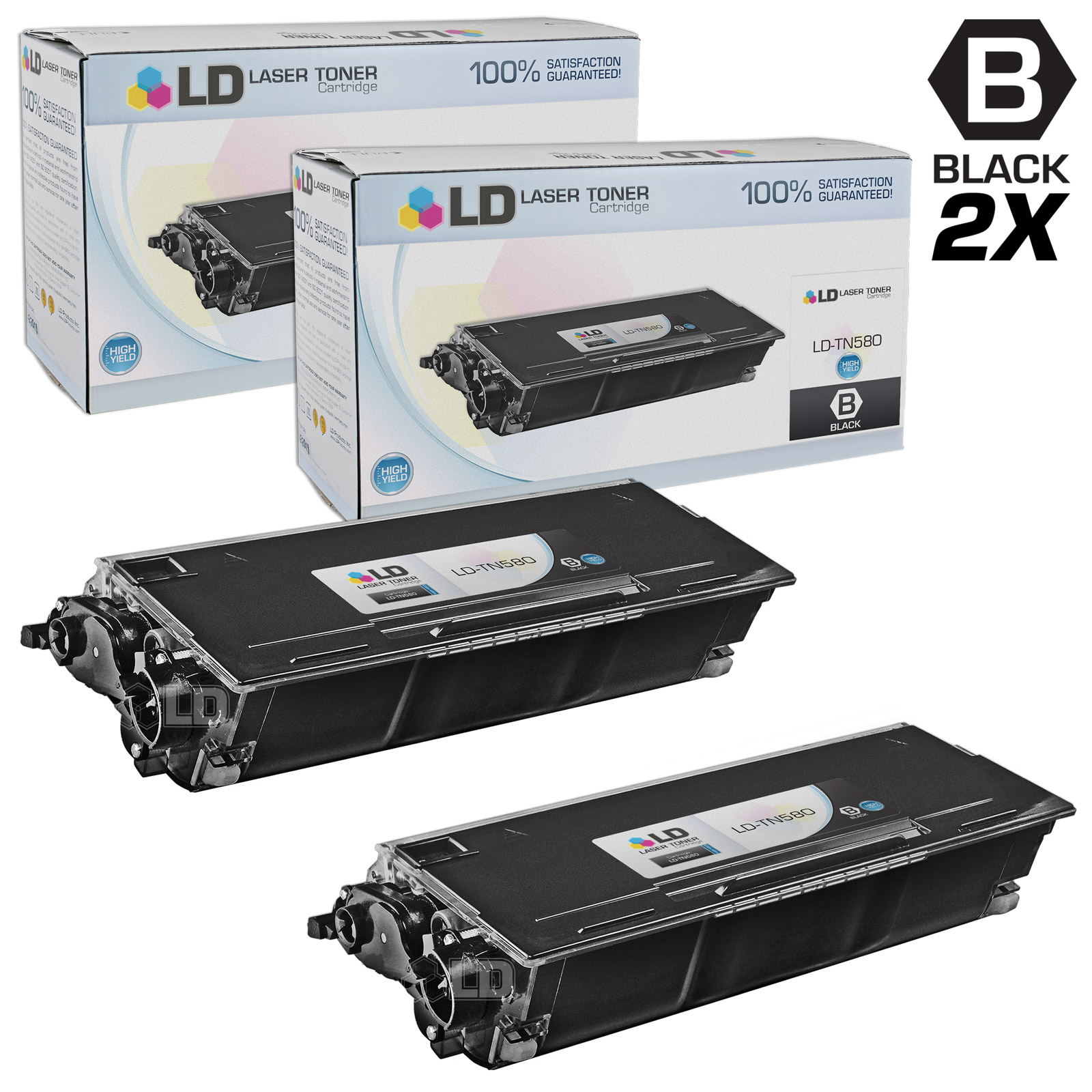 LD Compatible Brother TN580 (TN550) Set of 2 HY Black Cartridges for DCP-8060, DCP-8065, DCP-8065DN, HL-5200, HL-5240,