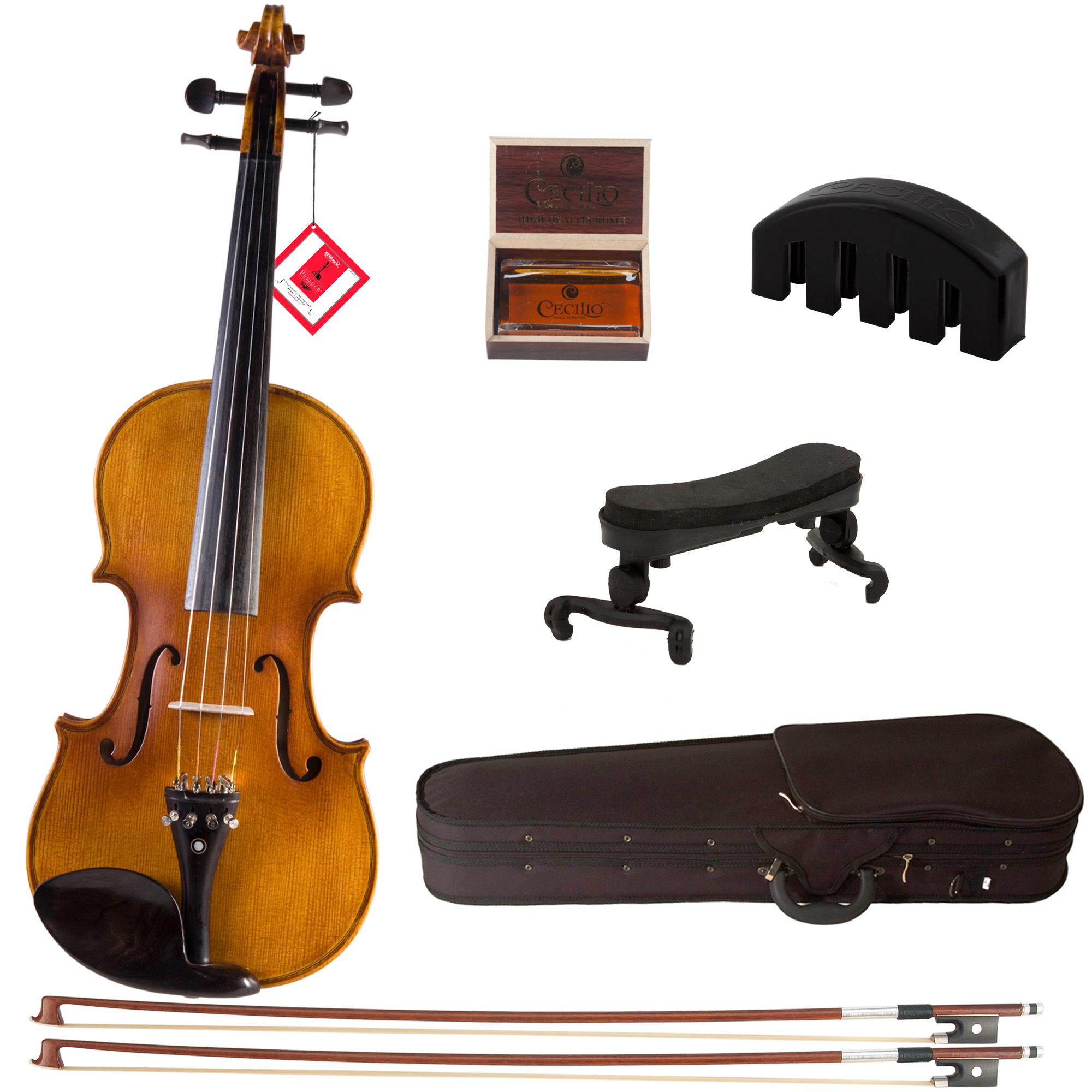 Cecilio Full Size 4/4 CVN-500 Ebony Fitted Flamed Solid Wood Violin with D'Addario Prelude Strings, Violin Mute, Shoulder Rest