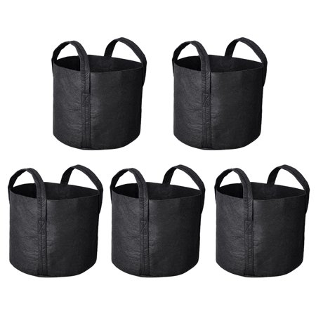 Yescom 5 Pack Grow Bags Fabric Pots Root Pouch with Handles Flower Vegetable Planting Container Breathable 3 Gallon