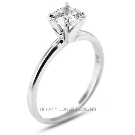 0.86ct H-SI1 VG Round AGI Natural Diamond 950 PL. Classic Solitaire Ring 3.4gram (Tiffany Solitaire)