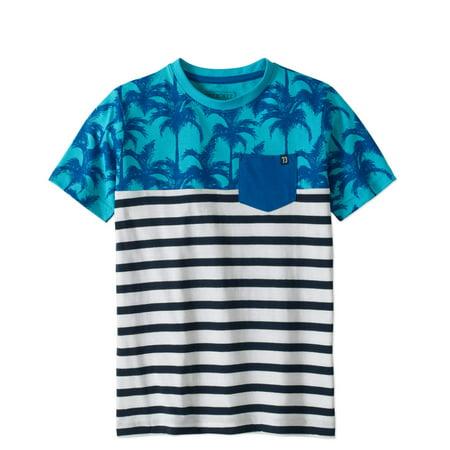Stroker Short Block - Boys' Short Sleeve Color Block Palm Tree Pocket T-Shirt