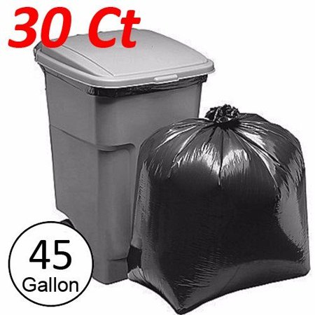 Wideskall 45 Gallong Extra Large Heavy Duty Commercial Kitchen Garbage Trash Bag Black - Pack of 30