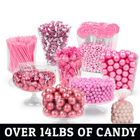 Pink Candy Buffet - (Approx 14lbs) Includes Hershey's Kisses, Sixlets,Gumballs, Dum Dum Lollipops, Frooties & More