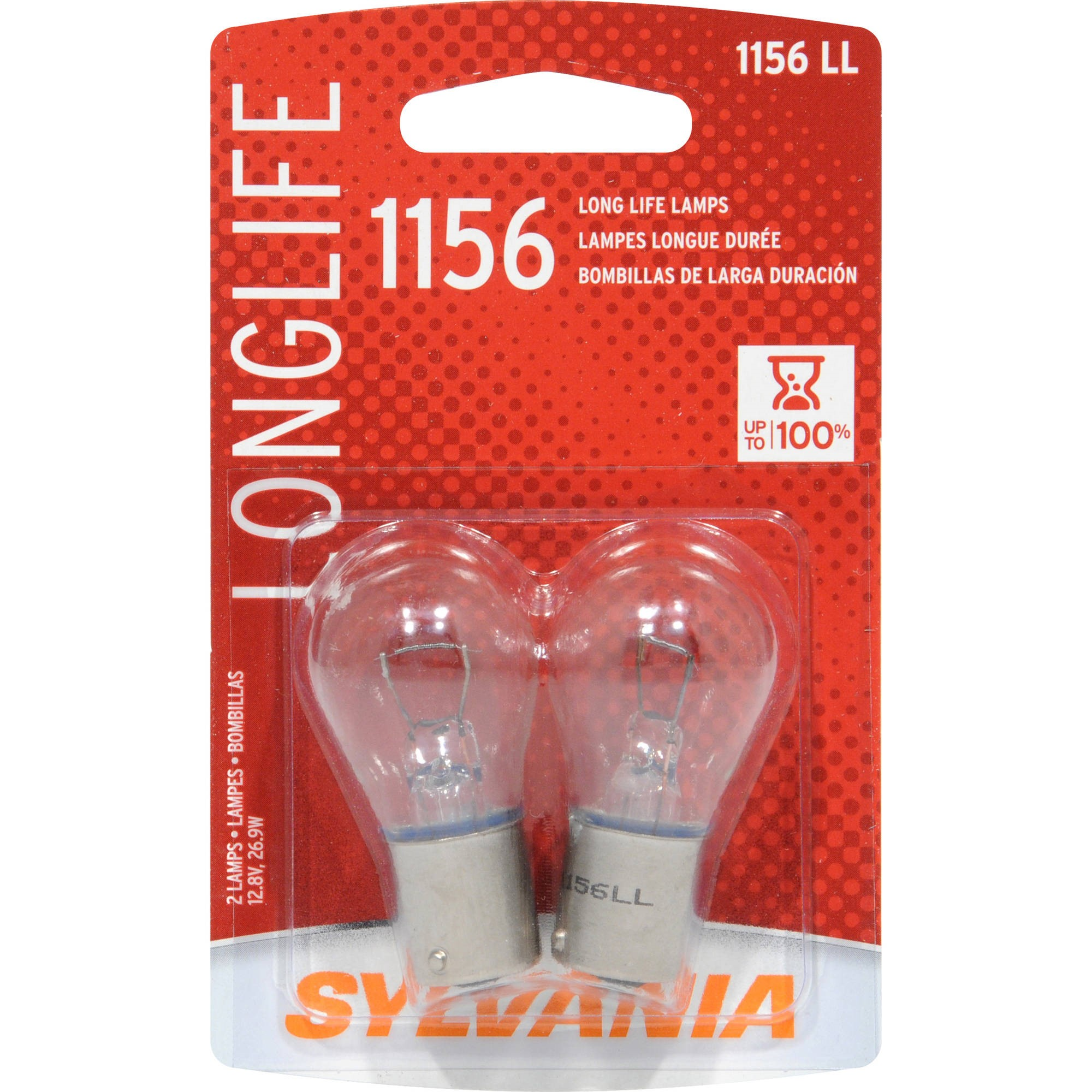SYLVANIA 1156 Long Life Miniature Bulb, (Contains 2 Bulbs)