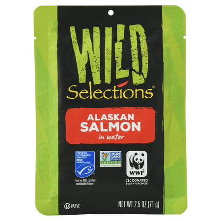 Salomon Gear - (6 Pack) Wild Selections Alaskan Pink Salmon in Water, 2.5 Ounce Pouch