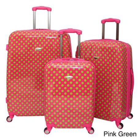 0564d0ed3 American Travel Polka Dot Expandable 3-piece Hardside Spinner Luggage Set  Pink/Green - Walmart.com