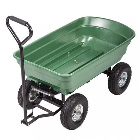 Utility Dump Trailers - Heavy Duty Poly Garden Utility Yard Dump Cart Garden Cart Wheel Barrow