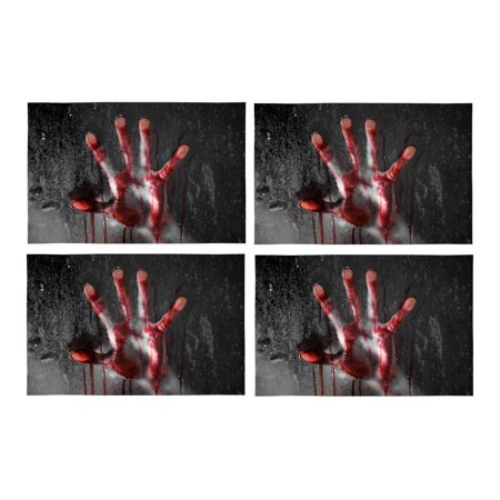 MKHERT Horror Scene with Bloody Hand Against Glass Halloween Theme Placemats Table Mats for Dining Room Kitchen Table Decoration 12x18 inch,Set of 4