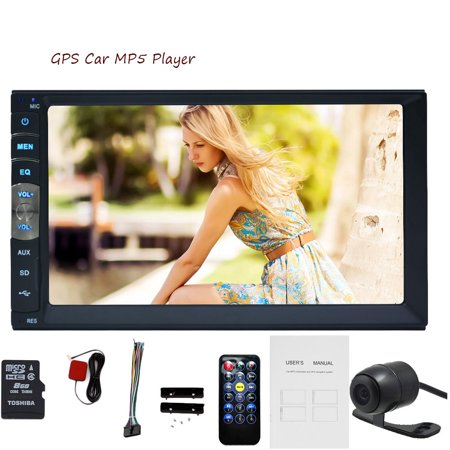 EinCar hot selling product 7-inch Double DIN Car Gps Navigation in Dash Car No-Dvd Player Car Stereo Touch Screen with Bluetooth USB Sd Mp3 Radio for Universal Car Free Backup Camera and map