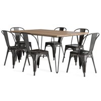 Brooklyn + Max Keiran Solid Mango Wood and Metal 66 inchWide Industrial IV 7 Pc Dining Set with 6 Metal Dining Chairs in Distressed Black and Copper