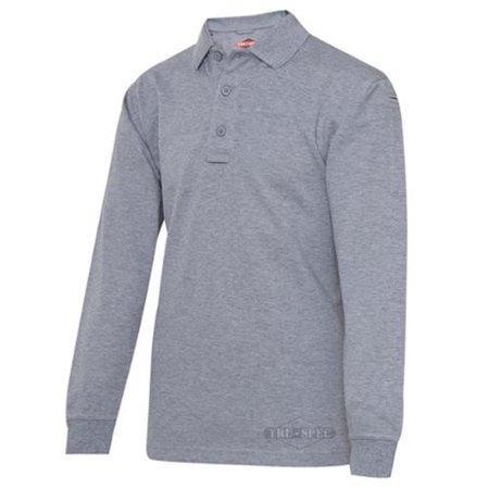 24-7 Series Men's Long Sleeve Polo Shirt, Heather Grey, 3XL - 4356008