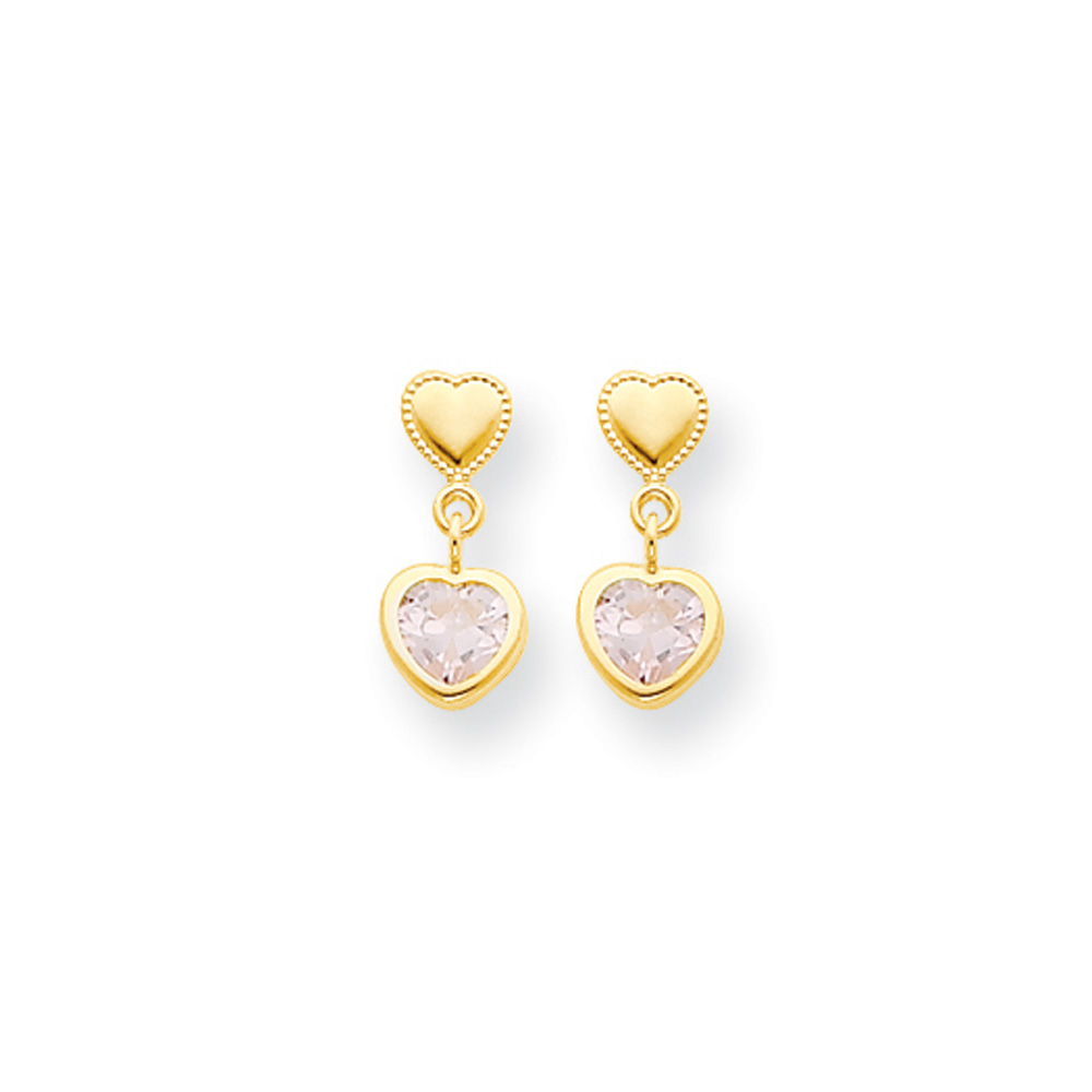 Double Heart with Pink Cubic Zirconia Post Earrings in 14k Yellow Gold by Black Bow Jewelry Company
