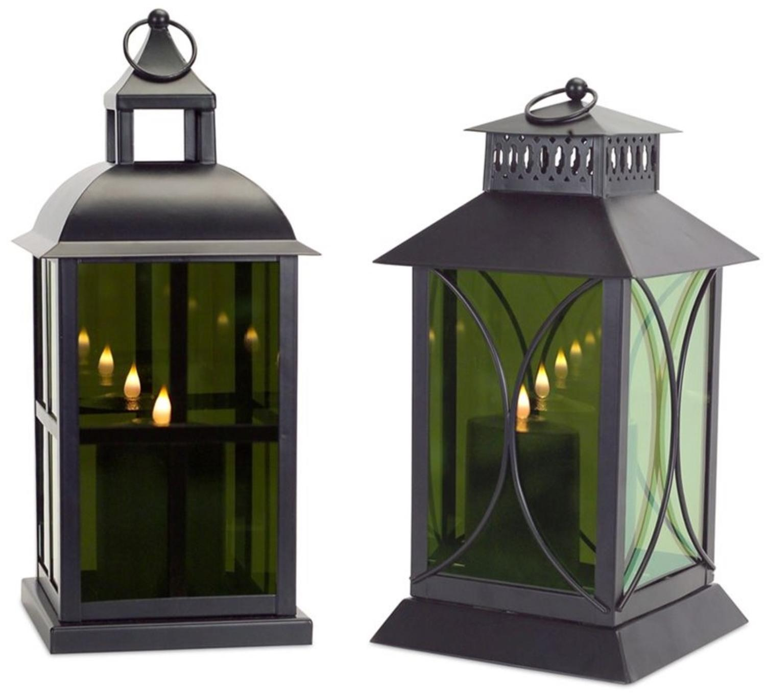 """Pack of 2 Mystifying Mirrored Glass Lantern with Moving Flame Candle 16.75"""""""