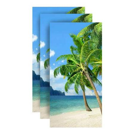 Hilasal Palm Island Fiber-Reaction Printed Beach Towel - 30 x 60 inches 3 PACK ()
