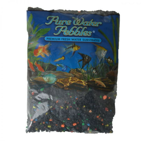 Pure Water Pebbles Aquarium Gravel - Black Beauty Pebble Mix 5 lbs (3.1-6.3 mm Grain) (Mixed Gravel)