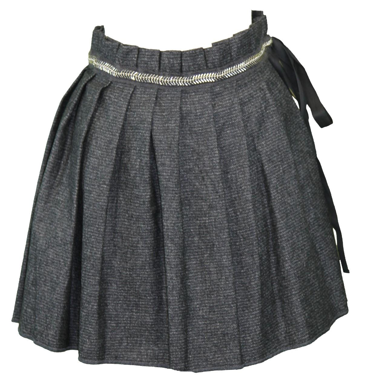 DANIELE ALESSANDRINI Womens Charcoal Pleated Wool Blnd Mini Skirt IT 44 NWT by