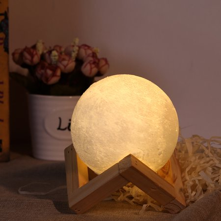 3D Moon Lamp USB LED Night Light Moonlight Gift Touch Sensor Changing 10CM with Wooden Stand Rechargeable, 3.94 in Diameter, White (Moonlight Night Light)