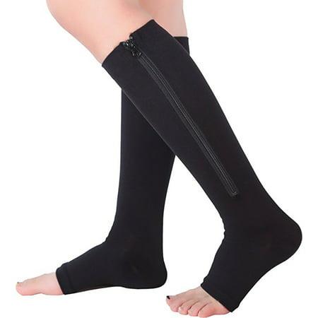 e085e911e3 Zip Sox Socks Medical Compression Stockings w/ Open Toe for Men & Women  15-20 mmHg Compression Level, Black Color - Walmart.com