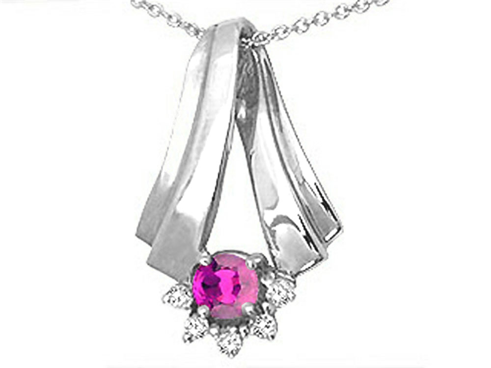 Tommaso Design Round 5mm Genuine Pink Tourmaline Pendant Necklace by