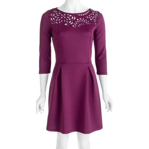 Stitch Women's Plus-Size Laser-Cut Ponte Skater Dress