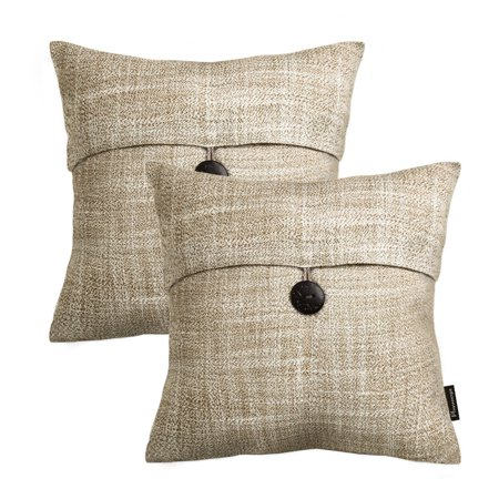 "Beige Pillow - Phantoscope Farmhouse Button Series Decorative Throw Pillow, 18"" x 18"", Beige, 2 Pack"