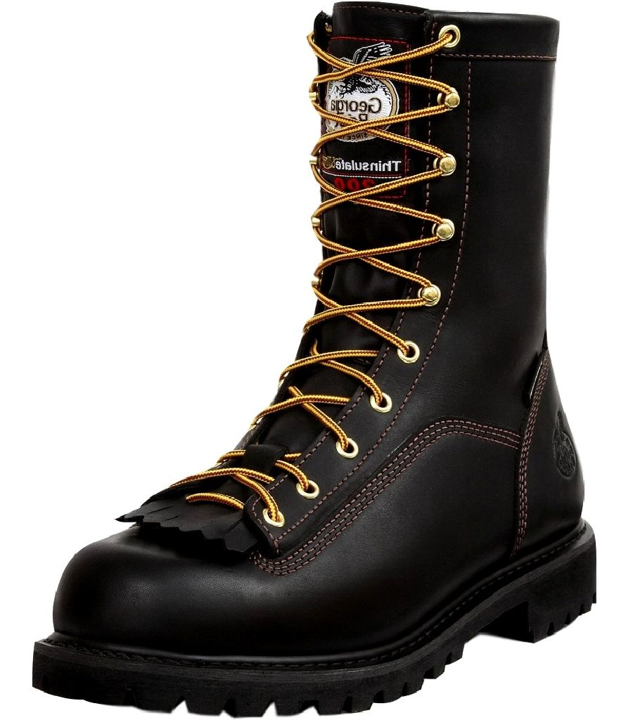 "Georgia Boot Work Mens 8"" WP Leather Lace Insulated Black G8040 by Georgia Boot"
