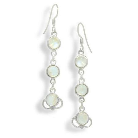 3-Stone Rainbow Moonstone Sterling Silver Hook Earrings