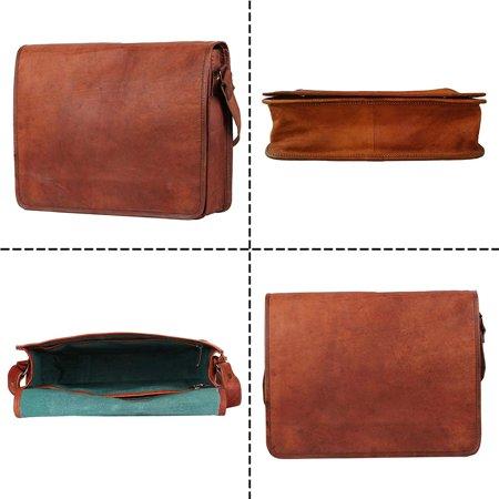 """Crafat 15"""" Mens Genuine Vintage Brown Leather Messenger Bag Shoulder Satchel School Laptop Bag Briefcase Bag - image 5 de 5"""