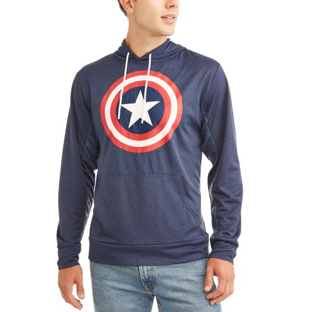 Captain America Men's Long Sleeve Pullover Hood T-Shirt