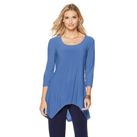 Purple Slinky - SLINKY BRAND 3/4 Sleeve Long Hanky-Hem Tunics ROYAL BLUE Size SMALL