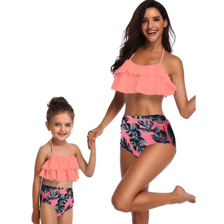 Family Matching Swimwear Mother Daughter Women Kids Girl Bikini Set Beachwear Bathing Suit Swimsuits Beachwear Push-Up Bra Bandage