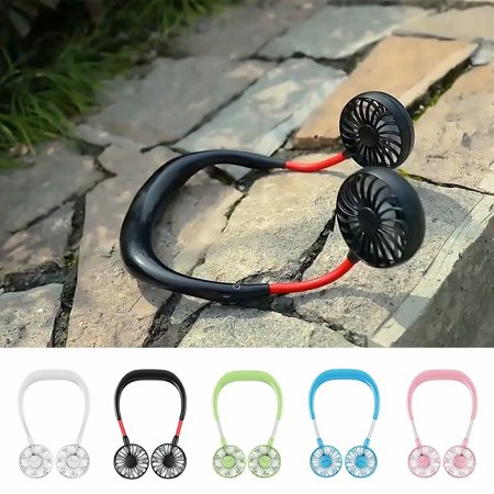 VicTsing Portable Sports Fan USB Rechargeable Charging Handheld Neckband Fan Mini Double Fans 3 Speed Adjustable Wearable for Home Office Traveling,black ()