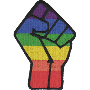 """Fist - LGBTQ Artwork Embroidered Iron On Patches, 2.8 x 4"""" Applique Sew On Patch"""