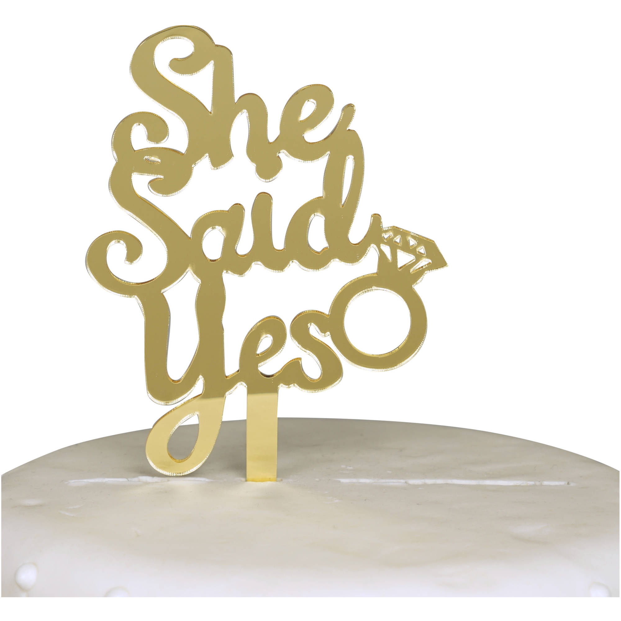 She Said Yes Engagement Acrylic Cake Topper, Gold Mirror