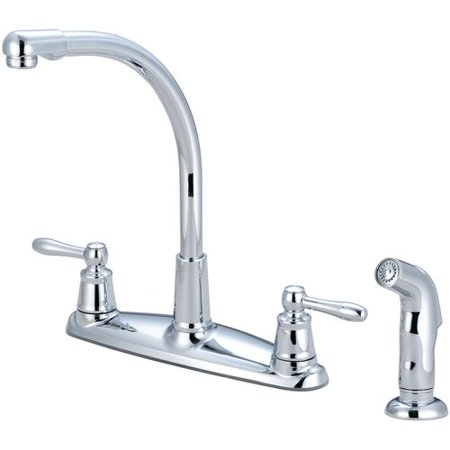 Pioneer Legacy Pull Out Double Handle Kitchen Faucet with Side Spray