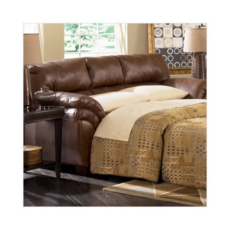 Ashley furniture warren full leather sleeper sofa in brown for Brown leather sectional sofa ashley furniture