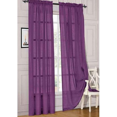 2pc Dark Purple Solid Sheer Voile Window Curtain Set, Two (2) Rod Pocket Panels 55