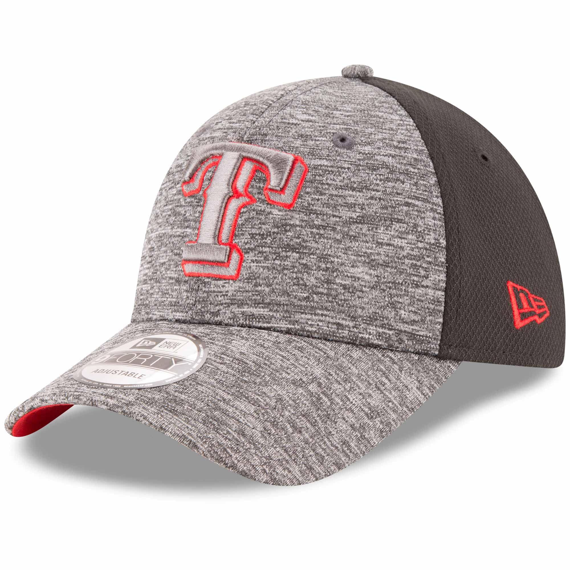 Texas Rangers New Era Shadowed Team Logo 9FORTY Adjustable Hat - Heathered Gray/Black - OSFA